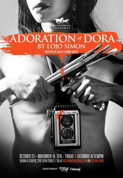 ADORATION OF DORA poster. Design by Uptown Studios. Photo by Yuri Tajiri.